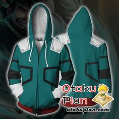 My Hero Academia Zip Up Hoodie Jacket - Izuku Midoriya Boku No Hero Academia Zip Up Hoodies And Clothing