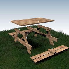 Your plans - Woodself - Free plans for woodworking Diy Picnic Table, Picnic Table Plans, Diy Dining Table, Woodworking Tools For Sale, Woodworking Projects Plans, Woodworking Machinery, Custom Woodworking, Diy Pallet Furniture, Garden Furniture