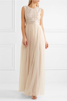 Needle & Thread - Prairie Open-back Embellished Chiffon And Tulle Gown - Neutral - UK