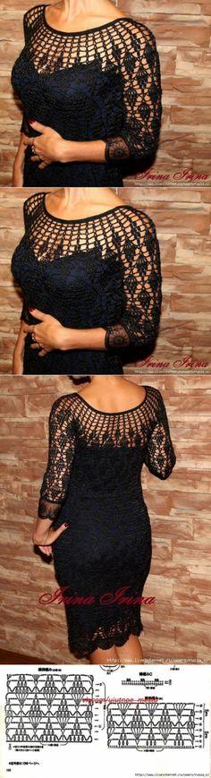 Little Black Dress Crochet T-shirt Au Crochet, Gilet Crochet, Crochet Collar, Crochet Shirt, Cardigan Outfits, Dress Outfits, Crochet Flower Patterns, Crochet Fashion, Crochet Clothes