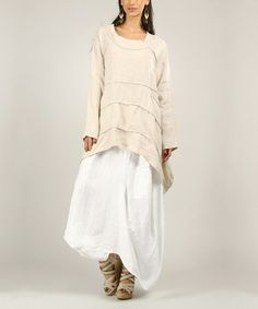 Another great find on #zulily! Beige Linen Sidetail Tunic #zulilyfinds