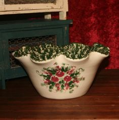 Pair of Antique Spongeware Bowls Green Speckles and Red Floral Design