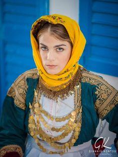 Greek woman in folk costume of Attiki Greece