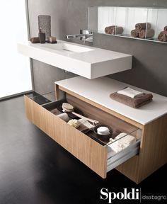 Collezione Masoko. Particolare del cestone con parte interna dotata di sponde di vetro. #spoldiideabagno #masoko #lavabo #arredobagno #cestone #drawer #vetro #glass #bathroom #interiordesign #casarottodesign #washbasin