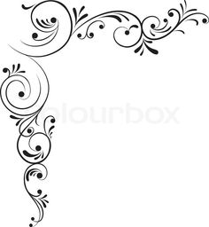 Element for design, corner flower, vector Drawing Stencil Patterns, Stencil Designs, Designs To Draw, Boarder Designs, Page Borders Design, Quilting Designs, Embroidery Designs, Imagenes Free, Molduras Vintage
