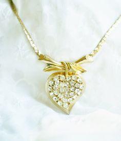Gold Vintage Rhinestone Heart Pendant by PuddinRidgeCreations