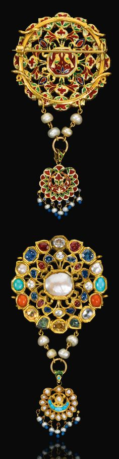 India ~ Mughal | Gem Set gold navratna pendant; turquoise, moonstone, seed pearl, sapphire, coral, beryl, quartz, ruby, polychrome enamel to reverse, with associated hanging pendant and later brooch pin | 19th century