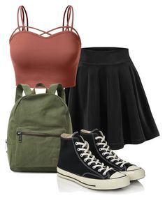 """""""To beautiful to dress code #4"""" by lindseyjoelleadams ❤ liked on Polyvore featuring J.TOMSON, Herschel Supply Co. and Converse"""