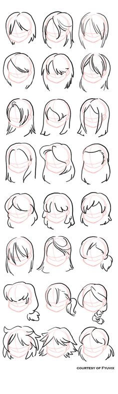 How to draw Hairstyles [deviantART] ---- Manga, Anime, Draw, Sketch, Hair, Girls, Chibi