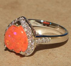 orange fire opal Cz ring gemstone silver jewelry Sz 8.25 cocktail Heart design #Cocktail