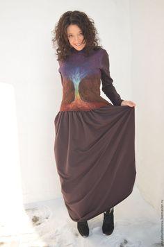 """Купить Платье (войлок) """"Древо"""" - коричневый, абстрактный, фиолетовый, шоколадный, фиолетово-шоколадный, фиолетово-коричневый"""