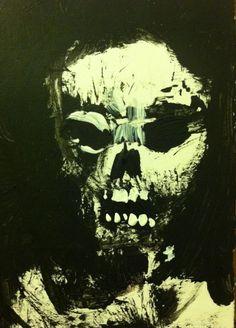 "Skull faced Zombie- abstract, acrylic,  original art,ACEO  jack larson 3.5""x2.5"" #Abstract"
