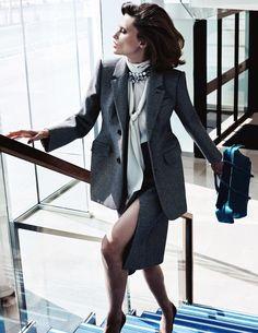 Elena Melnik takes a walk in Balenciaga suit jacket, blouse and skirt for ELLE Magazine Spain November 2016 issue