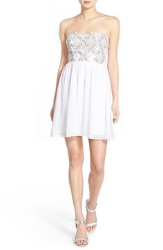 a. drea Sequin Strapless Skater Dress available at #Nordstrom