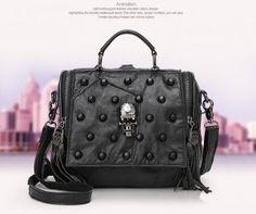 Women Gothic Black Skull Rivet Sheep Gunuine Leather Fashion Tote Bag One Shoulder With Tassels