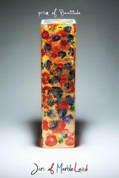 Jars of Marbleland- decorative jars, candle holders, painted glass Diy Candle Holders, Diy Candles, Beatitudes, Painted Sticks, Flower Vases, Jars, Colours, Patterns, Painting
