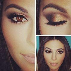 Luce preciosa con un make up en tonos marrones y dorados si tienes los ojos marrones. #makeup #ojos #marrones #dorado #belleza