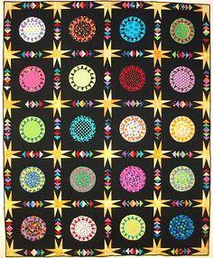 "QM Scrap Squad: Julie Huffman's ""Pie in the Night Sky"" scrap quilt version of Quiltmaker's Vintage Sunburst quilt pattern."