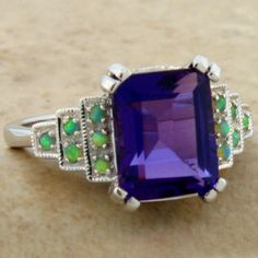 LAB AMETHYST OPAL 925 STERLING SILVER ANTIQUE ART DECO STYLE RING SZ 6.5   ,#646