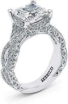 Tacori RoyalT Twist Princess Cut Diamond Engagement Ring HT2606PR