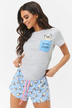 Product Name:Pug Pocket Tee & Shorts Pajama Set, Category:intimates_loungewear, Cute Pajama Sets, Cute Pajamas, Pj Sets, Pajama Outfits, Pajama Shorts, Pijamas Women, Cute Sleepwear, Womens Pyjama Sets, Satin Pyjama Set