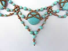 DIY Jewelry. FREE beading pattern for natural stone statement necklace made from magnesite round and pillow beads with copper round and seed beads