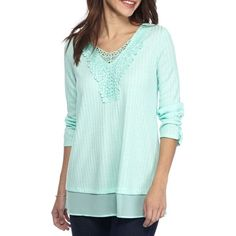 Kim Rogers Mint Feathery Crocheted Detail Top - Women's ($25) ❤ liked on Polyvore featuring tops, mint feathery, scoop neck top, kim rogers, mint top, scoopneck top and mint chiffon top
