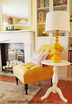 cottage style decor - French yellow tufted accent chair from Target