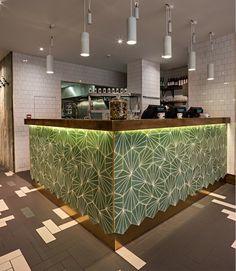 Gourmet Burger Kitchen (Covent Garden) (London, UK) - moreno masey architecture studio- green geometric tile