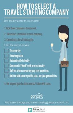 How to Select a Travel Staffing Company - Cariant Health Partners Nursing School Tips, Nursing Career, Nursing Tips, Nursing Notes, Ob Nursing, Nursing Schools, Rn Nurse, Nurse Life, Nurse Stuff