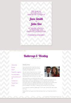 Chevron wedding website design from glosite.com, custom wedding websites, RSVP management, and email invitations.