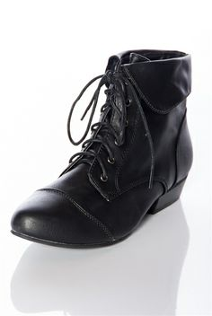 Stand Up for Style Fold Over Lace Up Granny Boots - Black from Breckelles  at Lucky 21 08f221f3ac
