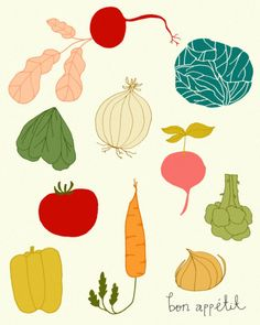 kitchen print, kitchen poster, chef, food, drawing, kitchen wall art, mid century, cute illustration, vegetables - BON APPETIT. $20.00, via Etsy.