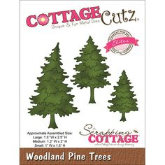 Cottage Cutz Elites Die Woodland Pine Trees Includes three dies Dimensions: 1.5 x 2.5 inches (large) (W x H); 1.2 x 2 inches (medium) (W x H); 1 x 1.5 inches (small) (W x H) 2015