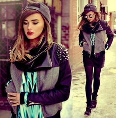 Studded shoulders on this jacket looks hot along with the backwards cap very cool  x