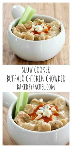 Slow cooker buffalo chicken chowder recipe from @bakedbyrachel