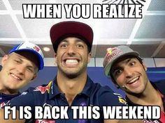 F1 is back this weekend guys! #F1IsBack #F1 #FormulaUno #FormulaOne #Formula1 #F1meme #DanielRicciardo #DR3 #MarcusEricsson #ME9 #CarlosSainz #CS55 #Sauber #SauberF1Team #RedBull #RedBullRacing #ScuderiaToroRosso #ToroRosso #F1CarPictures #AusGP