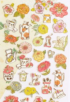 Floral Tea Time Planner Stickers, Scrapbooking Stickers, Die Cut Stickers, Cute Stationery, Korean Stationery - STK037