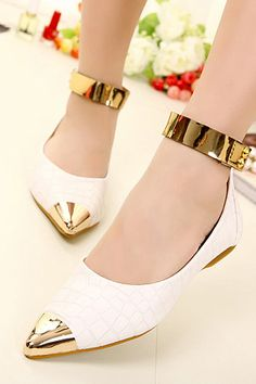 6c2d162d63e Fashion Leisure Ankle Strap Metal Pointed Toe Slip On Flat Shoes