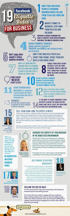 Las 19 reglas de etiqueta en Facebook para negocios.
