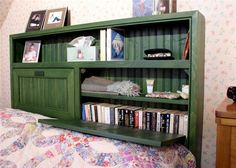 The Stonehaven Cottage Bookcase Bed has a bookcase headboard and a tray-style bed frame and makes a charming and practical addition to any bedroom. The headboard features a full-width open shelf above enclosed storage with plenty of space for paperbacks, Bookshelf Headboard, Bookshelf Plans, Bookcase Headboard, Bookshelf Ideas, Headboard Pallet, Headboard Ideas, King Size Bedding Sets, King Size Headboard, Twin Headboard