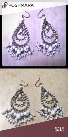 Free People vintage beaded chandelier earrings Free People vintage white beaded chandelier earrings NWOT. Free People Jewelry Earrings