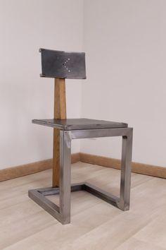 Chaise artisanale métal bois (chêne massif) design industriel