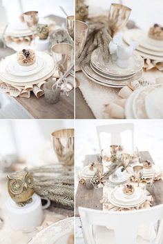 Winter tablescape//peach owl. Image from Bridal Guide. #laylagrayce #holiday