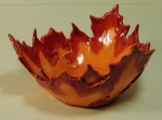 Handbuilt Maple Leaf Bowl Red and Orange Ceramic Candy by JSBArts, $25.00  (I have purchased other things from this artist- great to work with!)