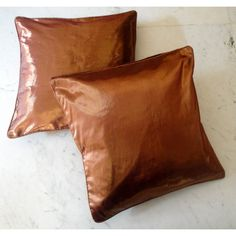 (SKU no: kmic 2007a) 2 Modern Luxury Shiny Metallic Brown Color Cotton Viscose Throw Pillow Cushion Covers, Krishna Mart India