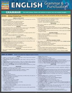 English Grammar and Punctuation Quick Review Guide. Browse and download thousands of educational eBooks, worksheets, teacher presentations, practice tests and more at www.Examville.com #studyguide #testprep #downloads #ebooks #free #education #classrooms #lessonplans #teaching #homeschool #school #college #teachers #examville #English #grammar #literature #writing #fiction #essays