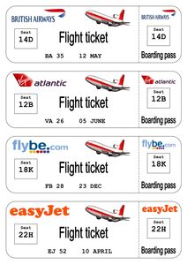 Airline TicketBoarding Pass Writing Templates Sb