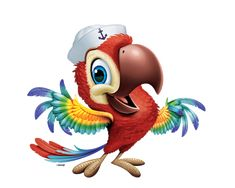 high seas vbs - Google Search Parrot Gif, Parrot Cartoon, Parrot Wallpaper, Cartoon Wallpaper, Animal Drawings, Cute Drawings, 3 Little Birds, Mascot Design, Cartoon Sketches