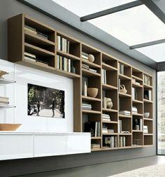Trendy Home Library Room Modern Bookshelves Ideas Modern Tv Wall, Modern Bookshelf, Bookshelf Design, Modern Room, Bookshelf Ideas, Tv Cabinet Design, Tv Wall Design, House Design, Ikea Shelving Unit